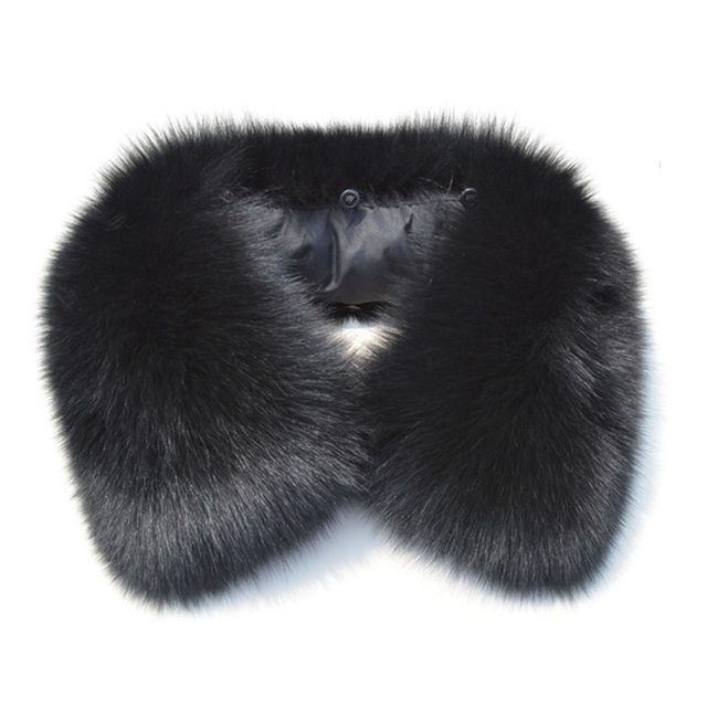 Men's Real Fur Collar Fox for Male Winter Scarves Collars Russian Black Brown High Quality Natural Fox Fur Scarf New 2017