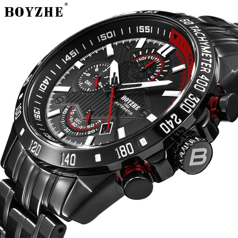 BOYZHE Watch Men Luxury Waterproof Calendar Luminous Pointer Multifunction Mechanical Watches Automatic Steel Clock