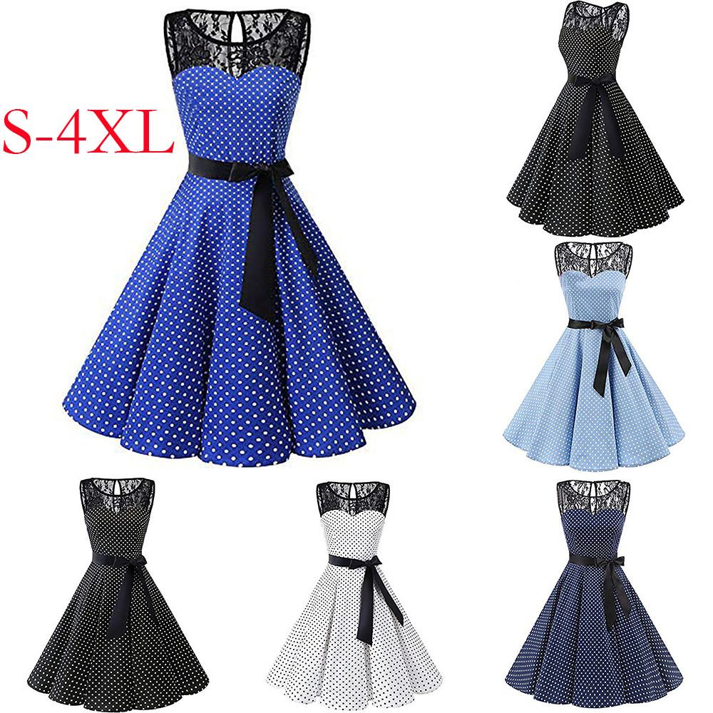 HTB1gpTNXsfrK1Rjy1Xdq6yemFXa3 Sleeper #401 2018 Women Sleeveless Polka Dot Lace Hepburn Vintage Swing High-Waist Pleated Dress solid design hot Drop Shipping