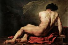 Classic Portrait Oil Painting on Canvas Male Nude Wall Art Home Decor Patroclus, 1780 by Jacques-Louis David Hand Painted