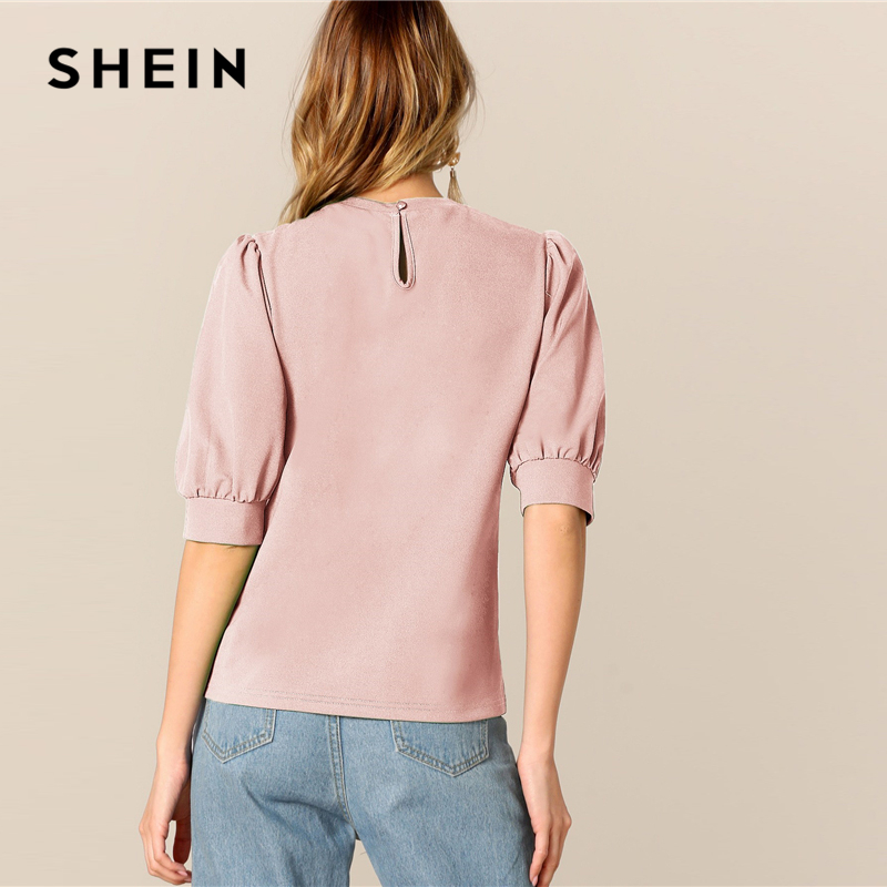 SHEIN Ladies Casual Green Puff Sleeve Keyhole Back Solid Top And Blouse Women 2019 Summer Workwear Half Sleeve Elegant Blouses SHEIN Women Women's Clothings Women's Shein Collection cb5feb1b7314637725a2e7: Dark green|black|Blue|Green|Pink|Red|White