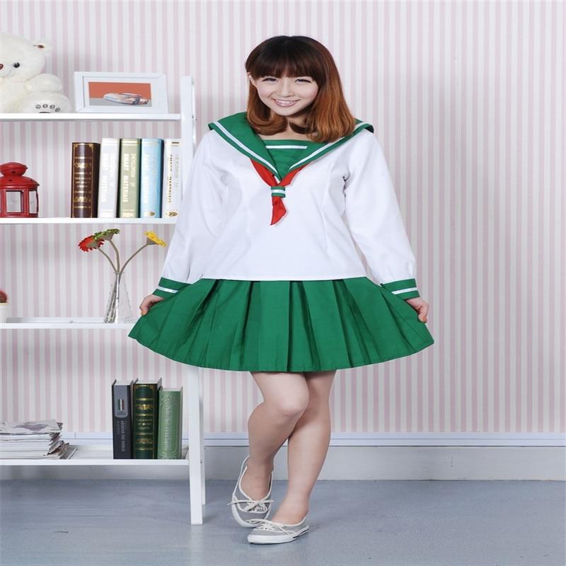 New Anime Inuyasha Higurashi Kagome Cosplay Costumes School Girls'  Uniform ( Top + Skirt + Scarf ) Women Sailor Suits  CS12268