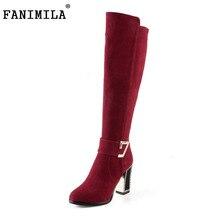 Fanimila Для женщин Ботинки из натуральной кожи на высоком каблуке Сапоги выше колен (ботфорты) теплые ботинки на меху холодной зимы длинные Botas Для женщин обувь Размер 34–39