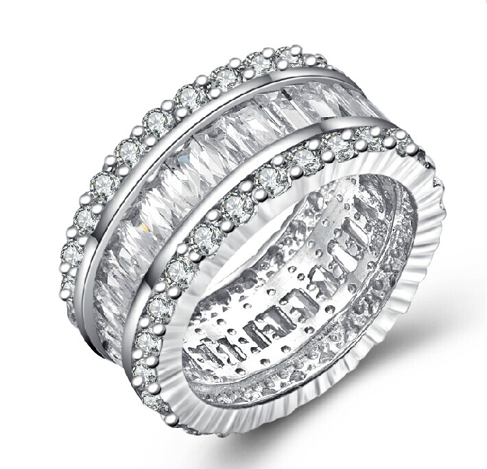 Brilliant Royal Design 925 Sterling Silver Jewelry Ring Sona