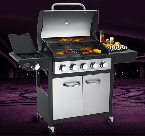 high quality five burners+side burner gas BBQ grill, gas stove,gas oven,outdoor all stainless steel gas BBQ grill