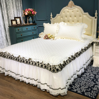 Thicker cotton snow white Bedspread Fitted Sheet Pillowcases Cotton 2/3pcs Solid Princess Lace Bedding Bedspread King Queen Size