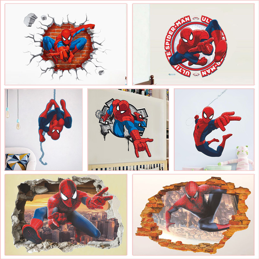 3d Spiderman Wall Stickers For Boys' Room Home Decoration Diy Cartoon Super Hero Pvc Mural Art Kids Bedroom Wall Decals