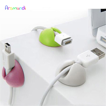 4Pcs Solid Desk Set Wire Clip Organizer Office Accessories Bobbin Winder Wrap Cord Cable Manager for Mouse USB Keyboard Lines