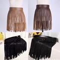 Fashion Women Ladies Hippie Boho Fringe Tassel PU Faux Leather Belt All Matching High Waist Long Belts Fringed Cummerbuns Skirt