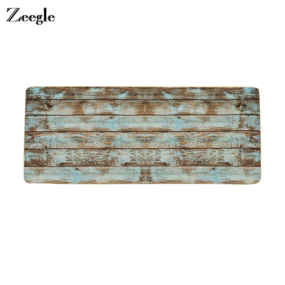 Zeegle Kitchen Floor Mat Carpets For Living Room Wood Pattern Mats Bedroom Non-slip Decor Rug Entrance Floor Mat