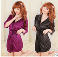 HOT 2016 summer Female sexy sleepwear women casual full lace slips ladies Silk Satin Robe Nightgown solid colors