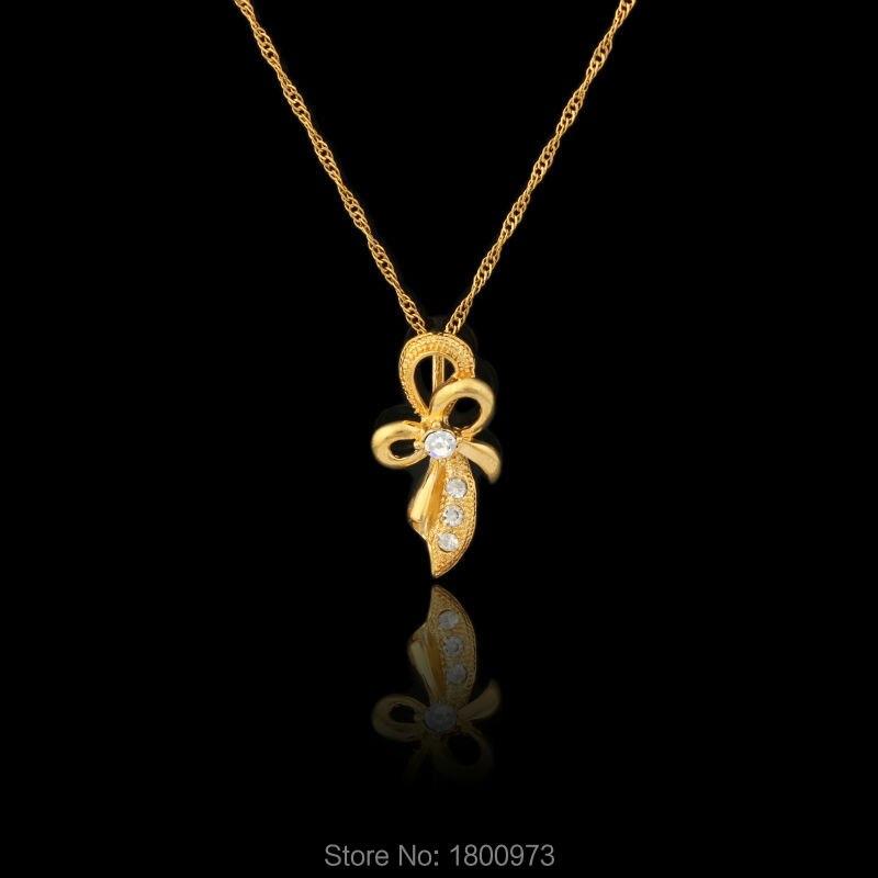 8b6e58852006 Nueva Llegada del Color del Oro Del Bowknot Rhinestone Colgante y Collar  Para Las Mujeres Niñas Regalos Del Partido Envío gratis