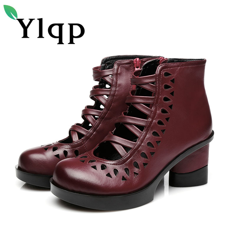 Ylqp National Style Genuine Leather Cool Boots Female High Heels Sandals Women Street Fashion Party Summer
