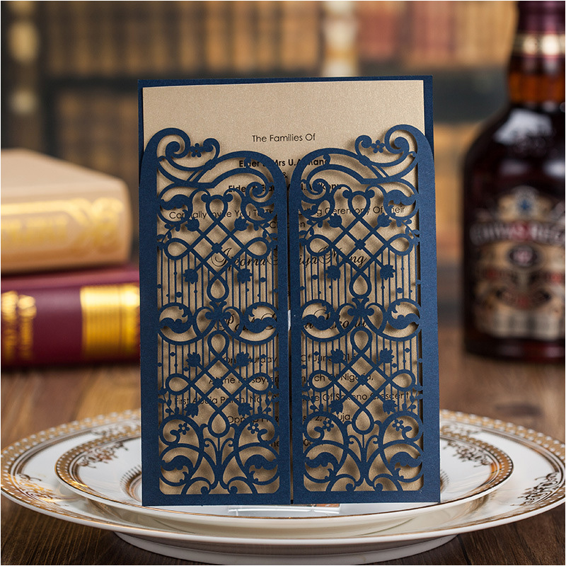 Aliexpress Elegant Dark Blue Wedding Invitation Cards 2017 Laser Cut Enement Party Invitations Free Personalized Printing With Envelope From