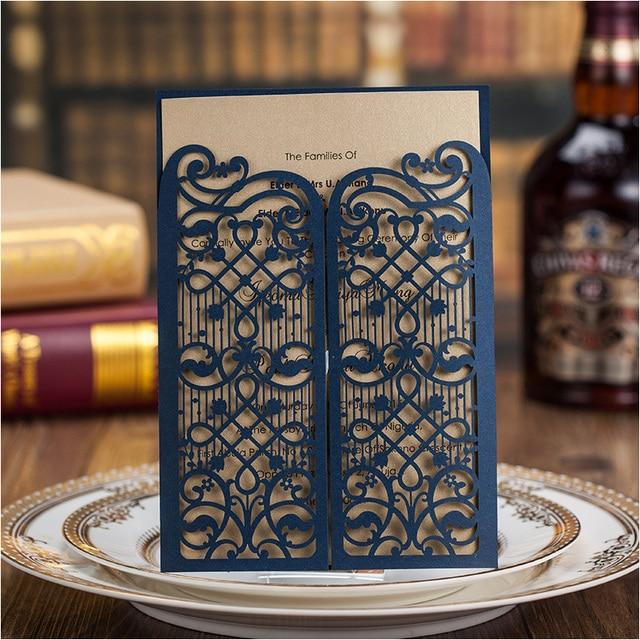 Elegant Dark Blue Wedding Invitation Cards 2015 Laser Cut Engagement - engagement party invitations free