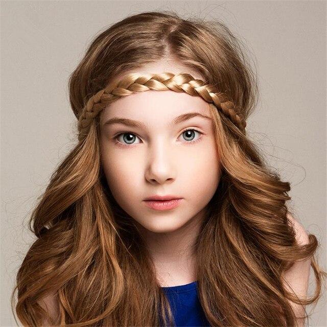 Girls Weave Fake Hiar Patchwork Headband Women Children Hair Band  Accessories Black White Wine Red Brown Colors 1 Piece 2e68ed55f6d