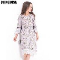 00af8bb31f CHINGROSA Lavender Floral Printed Lace Long Sleeve Girls Dresses Princess  Summer Beach Dresses Kids Clothing Vestidos