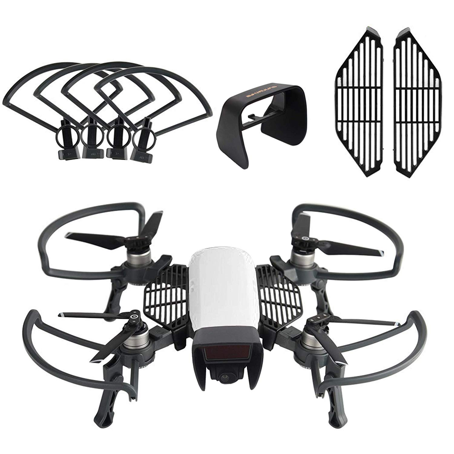For Dji Spark Drone Accessories Kits,Propeller Guards Foldable Landing Gear, Lens Hood Sun Shade, Finger Guard Board (3 Pack)