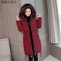 JKKUCOCO 2018 New Winter Jacket Sustans Big Hair Hooded Cotton Jacket Women Parkas Pocket Slim Long Winter Coat 6 Color L 5XL