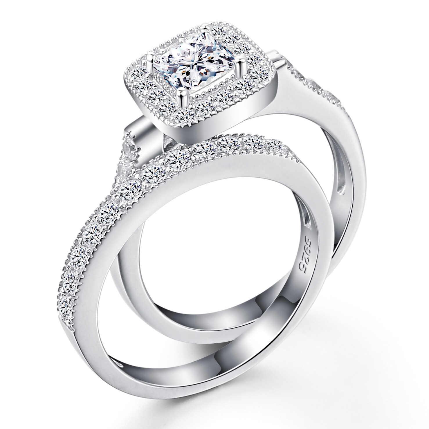 3,5 карат ограненные CZ кольца из стерлингового серебра квадратное многослойное кольцо 925 серебряные ювелирные изделия подарок для женщин кольцо для помолвки кольцо SR11
