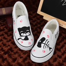 New Korean version boys white lazy pedal air flat shoes and leisure cat hand painted canvas