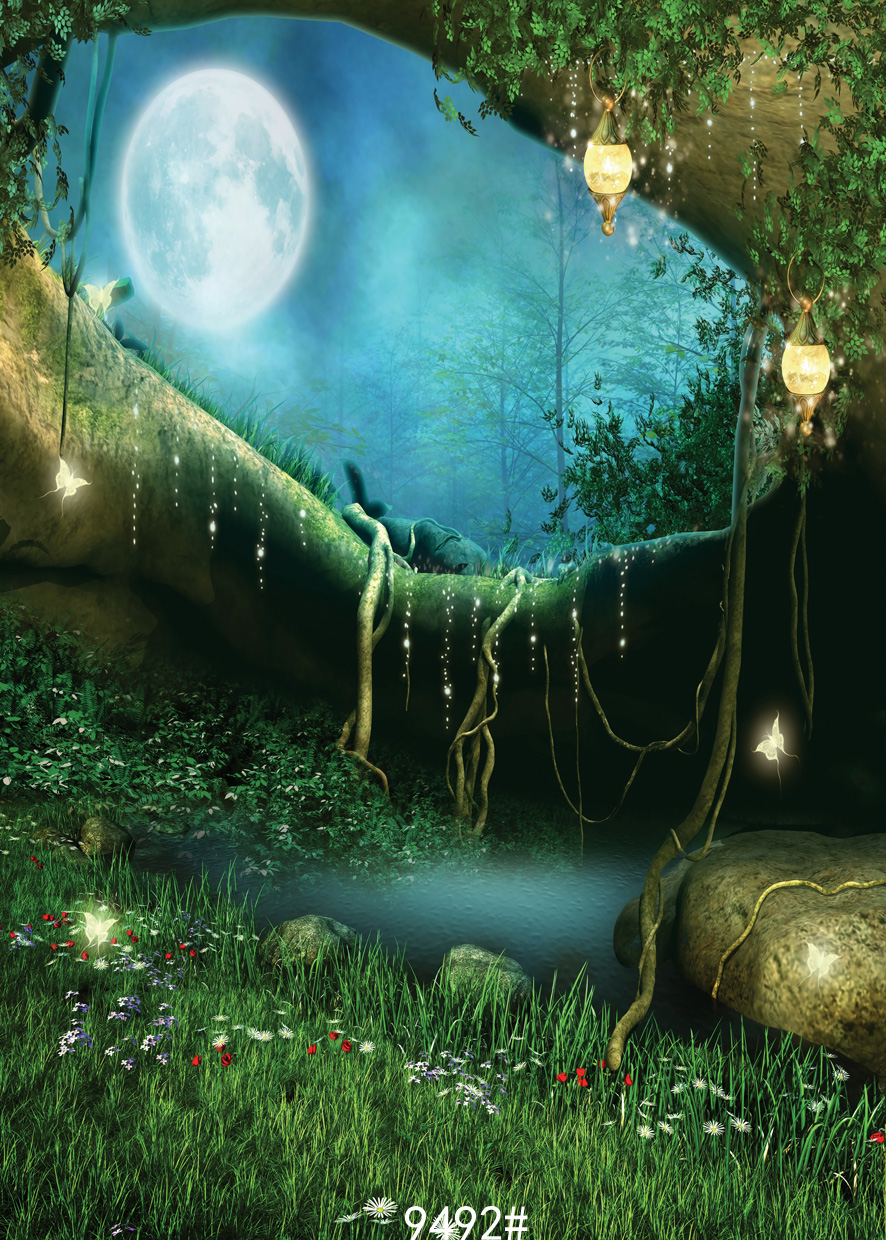 Fairy tale moon at night backdrops tree hole dream background children  photography backgrounds fond studio photo vinyle 9492 wood color studio photography background children photography background backdrops fond studio photo vinyle 7x5ft
