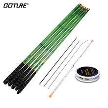 Goture telescópica vara de pesca de fibra de carbono 3.6m-7.2m mão pólo alimentador vara de pesca da carpa + equipamento de flutuador de pesca + 3 dicas vara de pesca