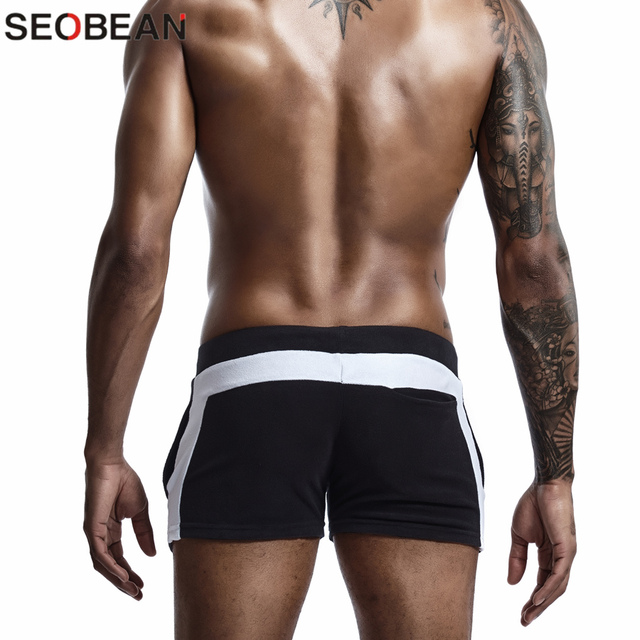 SEOBEAN Men Homewear Shorts Sexy Low Waist Cotton Super Soft Comfortable Home Male Panties Boxer Shorts Casual Short Pants 5