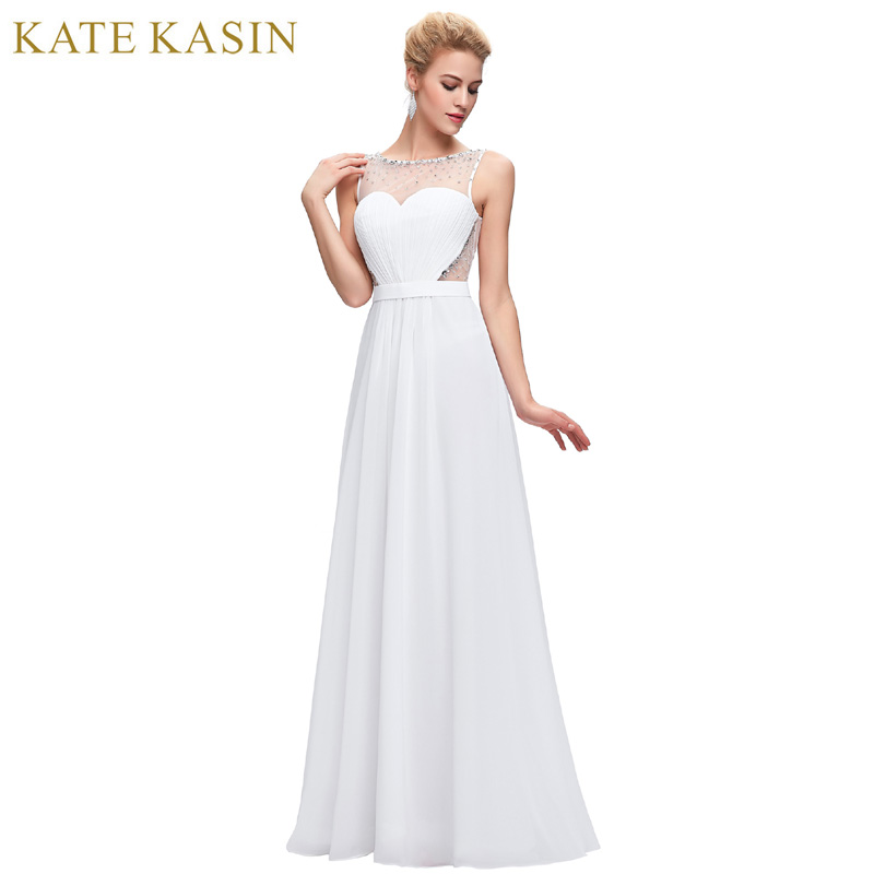 Kate Kasin White Backless Evening Dresses Draped with Belt Slim A Line Chiffon Long Ladies Evening