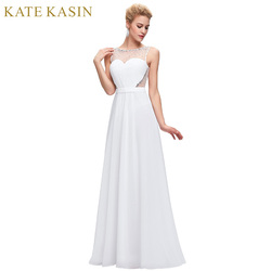 Kate kasin white backless evening dresses draped with belt slim a line chiffon long ladies evening.jpg 250x250