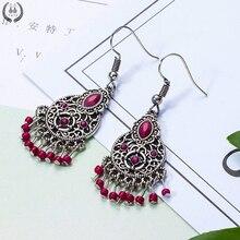 Новые красные акриловые длинные серьги для женщин Boho круглые Висячие серьги Свадебные ювелирные изделия
