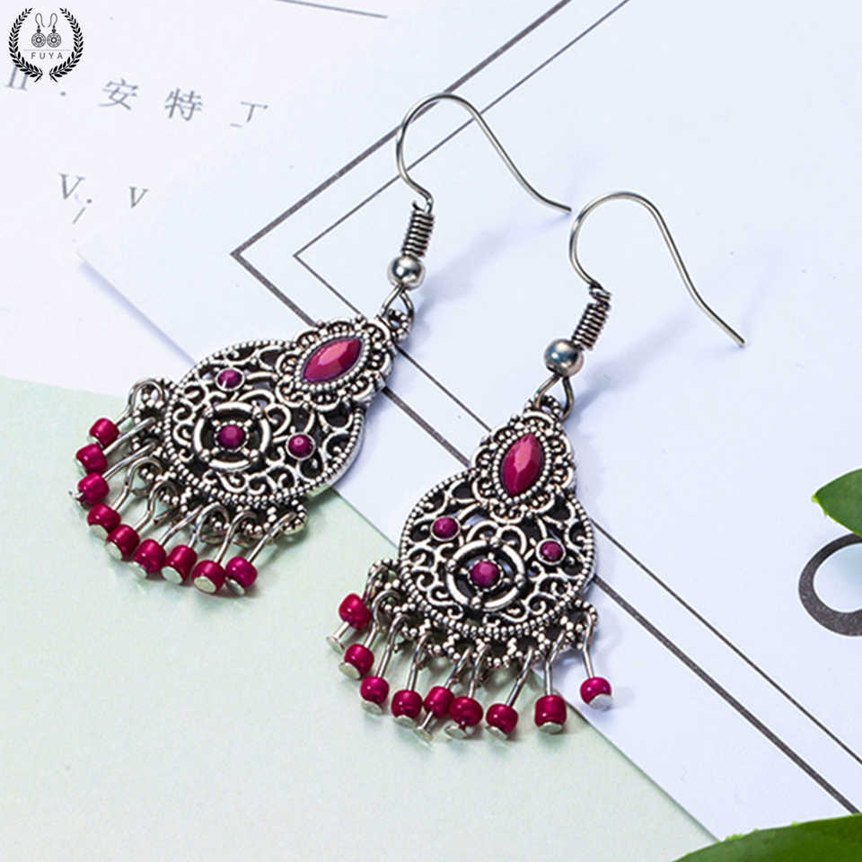 New red color chandelier acrylic long earrings for women Boho round circle hanging earrings bridal wedding jewelry free shipping