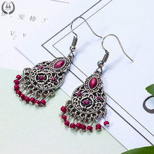 New red color chandelier acrylic long earrings for women Boho round circle hanging earrings bridal wedding jewelry free shipping(China)