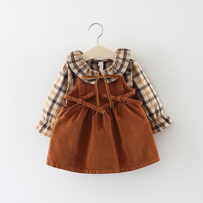 2018 New Promotion Cotton Vestido Infantil Baby Dress Autumn 0-3 Years Old Girls Fashion Plaid Strap Dress Two Sets Of Tide