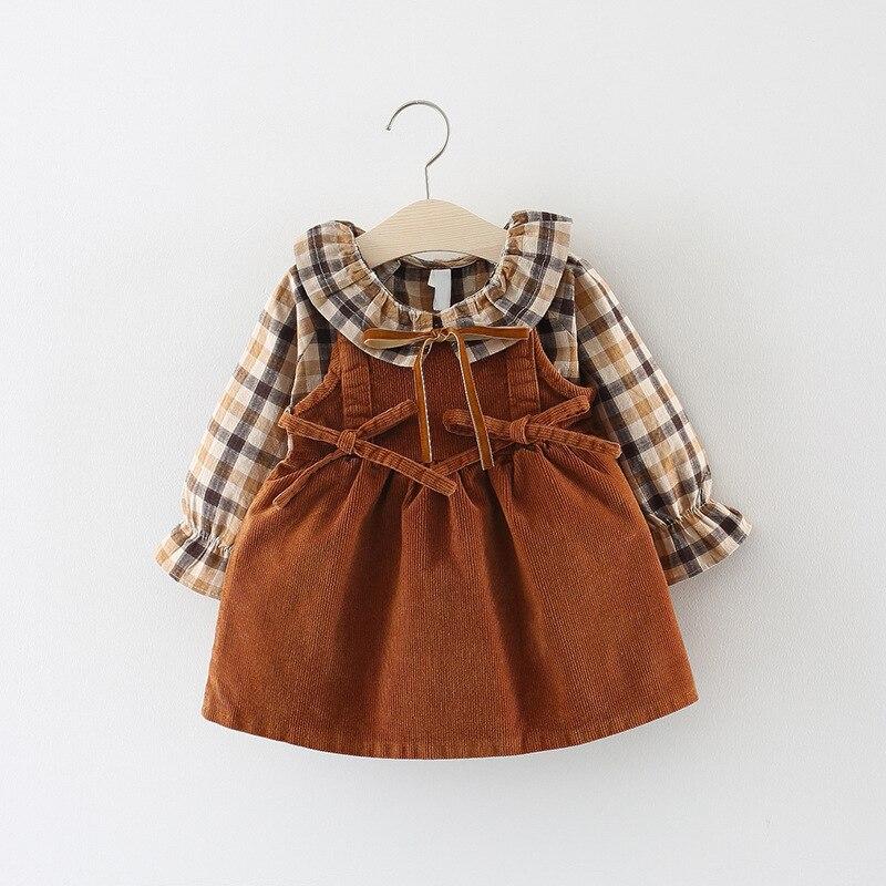 f35c7f3ab 2018 nueva promoción de algodón Vestido Infantil bebé otoño Vestido de 0-3  años de edad las niñas moda Plaid Vestido de correa de dos conjuntos de  marea