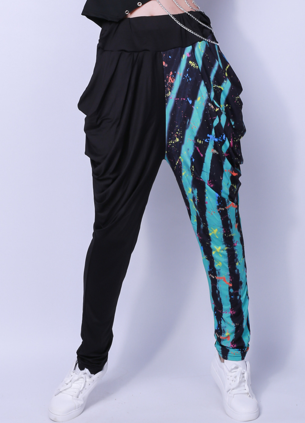 Kids Adult Spring jazz Skinny pencil Sweatpant Costume wear Exclusive Black Camouflage Strip Patchwork harem Hip Hop Dance Pants