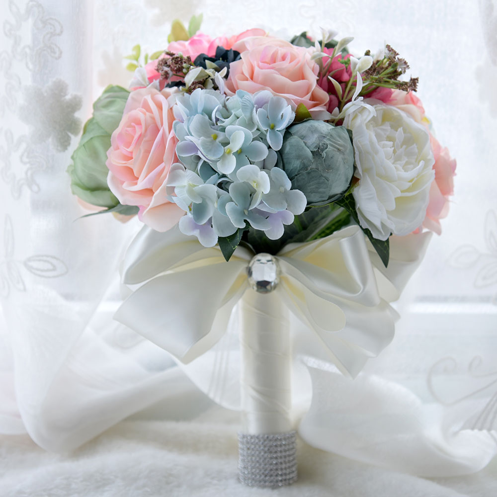 Kyunovia Faux Bouquet Silk Roses Wedding Flowers Country Bouquet Bridesmaid Bouquets  Roses Hydrangea Bridal Bouquet 2 Style FE44 In Wedding Bouquets From ...