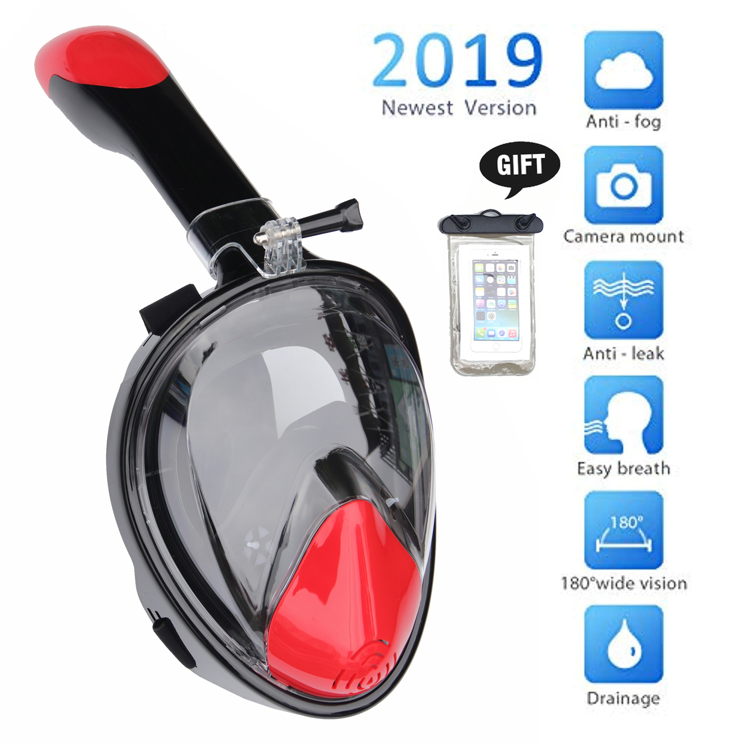 2019 Snorkeling Mask Set Full Face Diving Mask Anti-Fog Free Breathing 180 Panoramic Wide View Scuba Swmiming Mask