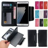 Book Type Openning Design Magnetic Detachable 2in1 Lichee Leather Wallet Flip Case Cover For Galaxy Note