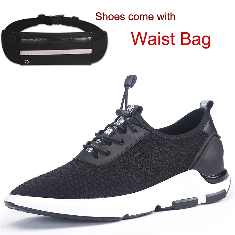 New Black Mesh Men's Sport Shoes Casual  Lightweight Height increasing 6CM Elevator Sneaker for Outdoor Walking Running Hiking