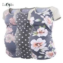 Комплект из 3 предметов, Футболка для беременных, Одежда для беременных, цветочный принт, с рюшами, короткий рукав, винтажные топы для беременных, женская одежда