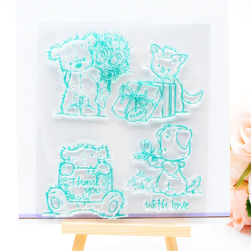 DECORA 1PCS Cute Bear Design Silicone Transparent Clear Stamp DIY Scrapbooking Baby Shower Christmas Decoration Supplies