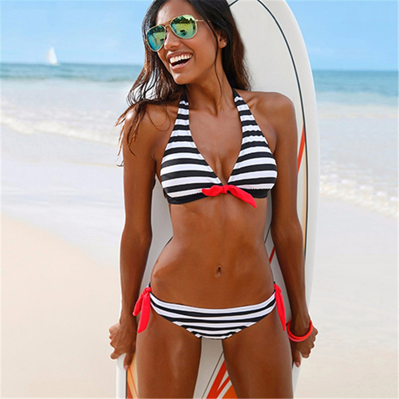 Summer Two Piece Swimwear Halter Top Plaid Stripe Bikini Set Swimsuit Women's Swimming Suit носки stance icon white o s