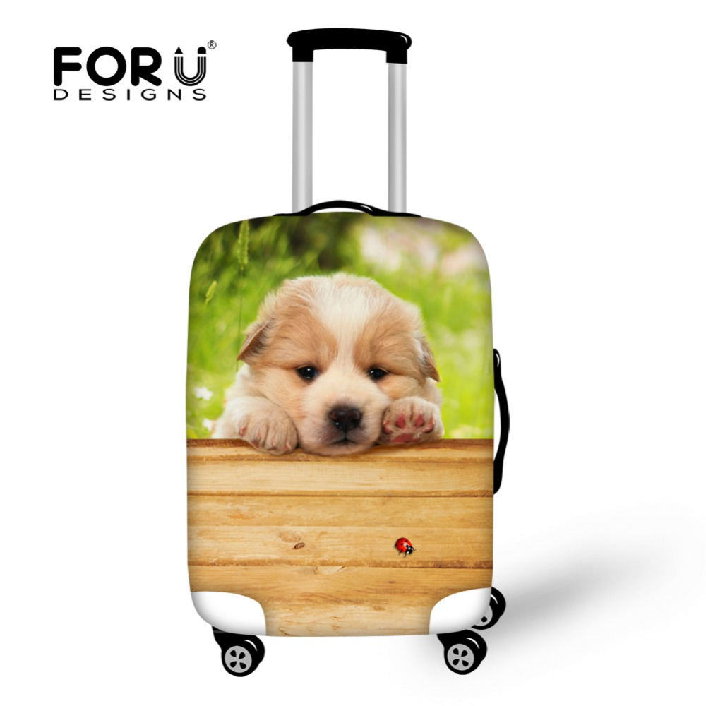 FORUDESIGNS Cute Dog Pattern Travel Luggage Cover Waterproof Rain Cover Apply To 18-30 Inch Suitcase Case Elastic Spandex Cover