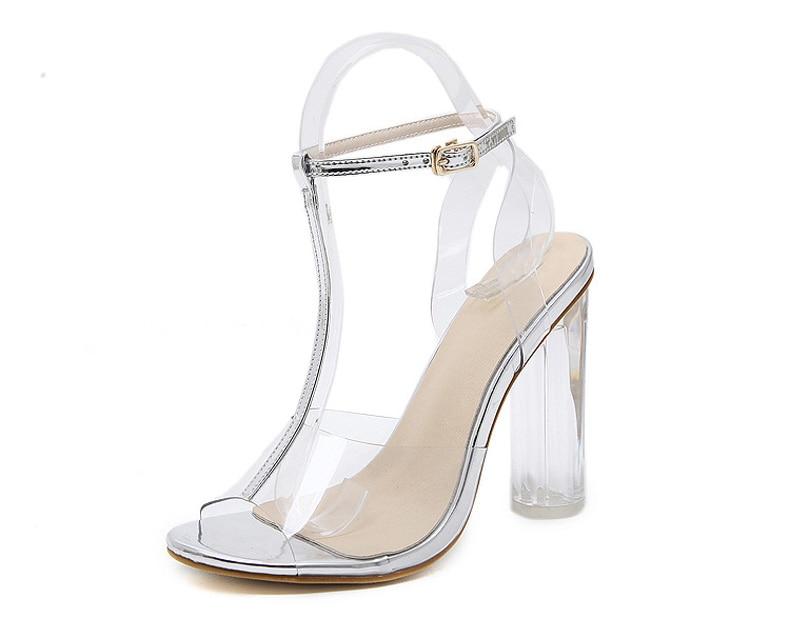 HTB1gpVeXcfrK1Rjy1Xdq6yemFXag Eilyken 2019 PVC Jelly Sandals Crystal Leopard Open Toed High Heels Women Transparent Heel Sandals Slippers Discount Pumps 11CM