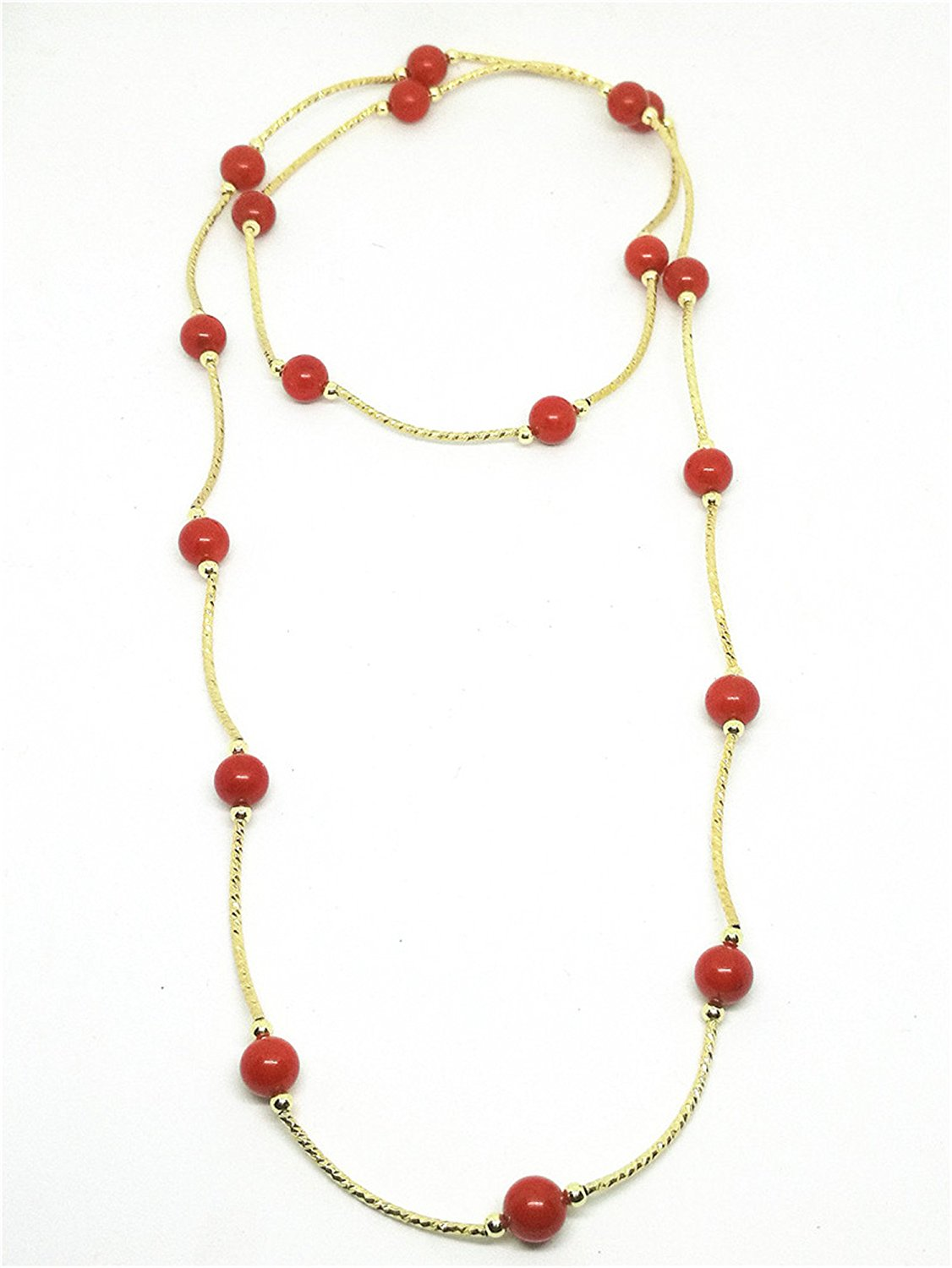Natural S925 Gold Red Coral Beads Bracelet Necklace Gemstone Jewelry in Bracelets Bangles from Jewelry Accessories