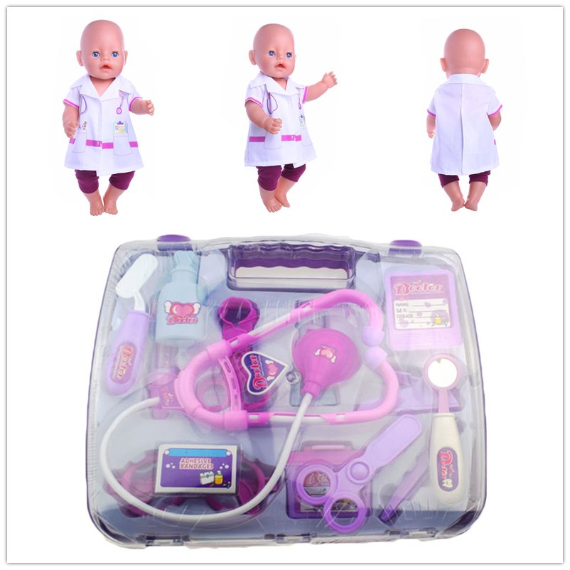14pcs Doctor tools+ 1set Doll Clothes Wear fit 43cm Baby Born zapf, Children best Birthday Gift pretend and play doctor set little doctor kids baby toddler children junior doctor nurses medical set kit role play toy