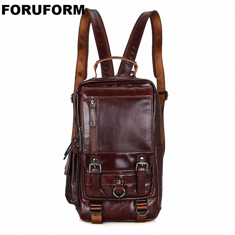 Горячее предложение Дизайн модные Пояса из натуральной кожи Сумка Груди Пакет Для мужчин сумка Винтаж Сумки на плечо Back Pack Bolsa masculina LI-1648