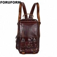 Hot New Design Fashion Genuine Leather Bag Chest Pack Men Messenger Bag Vintage Shoulder Bags Back Pack Bolsa Masculina LI 1648