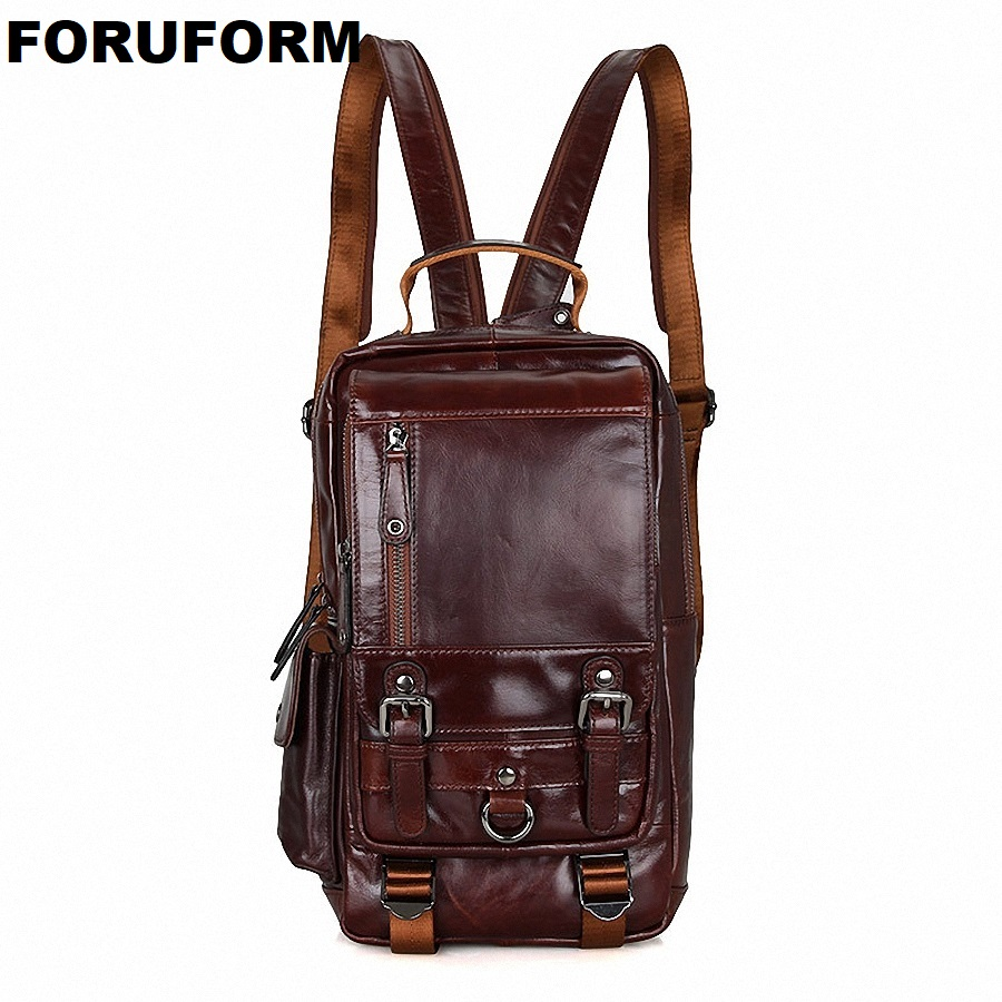 цена на Hot New Design Fashion Genuine Leather Bag Chest Pack Men Messenger Bag Vintage Shoulder Bags Back Pack Bolsa Masculina LI-1648
